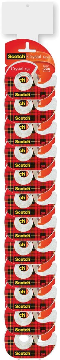 Scotch plakband Crystal ft 19 mm x 25 m, clipstrip met 24 stuks