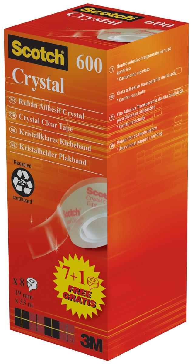 Scotch plakband Crysal Tape, ft 19 mm x 33m, 1 x value pack met 8 rollen waarvan 1 gratis