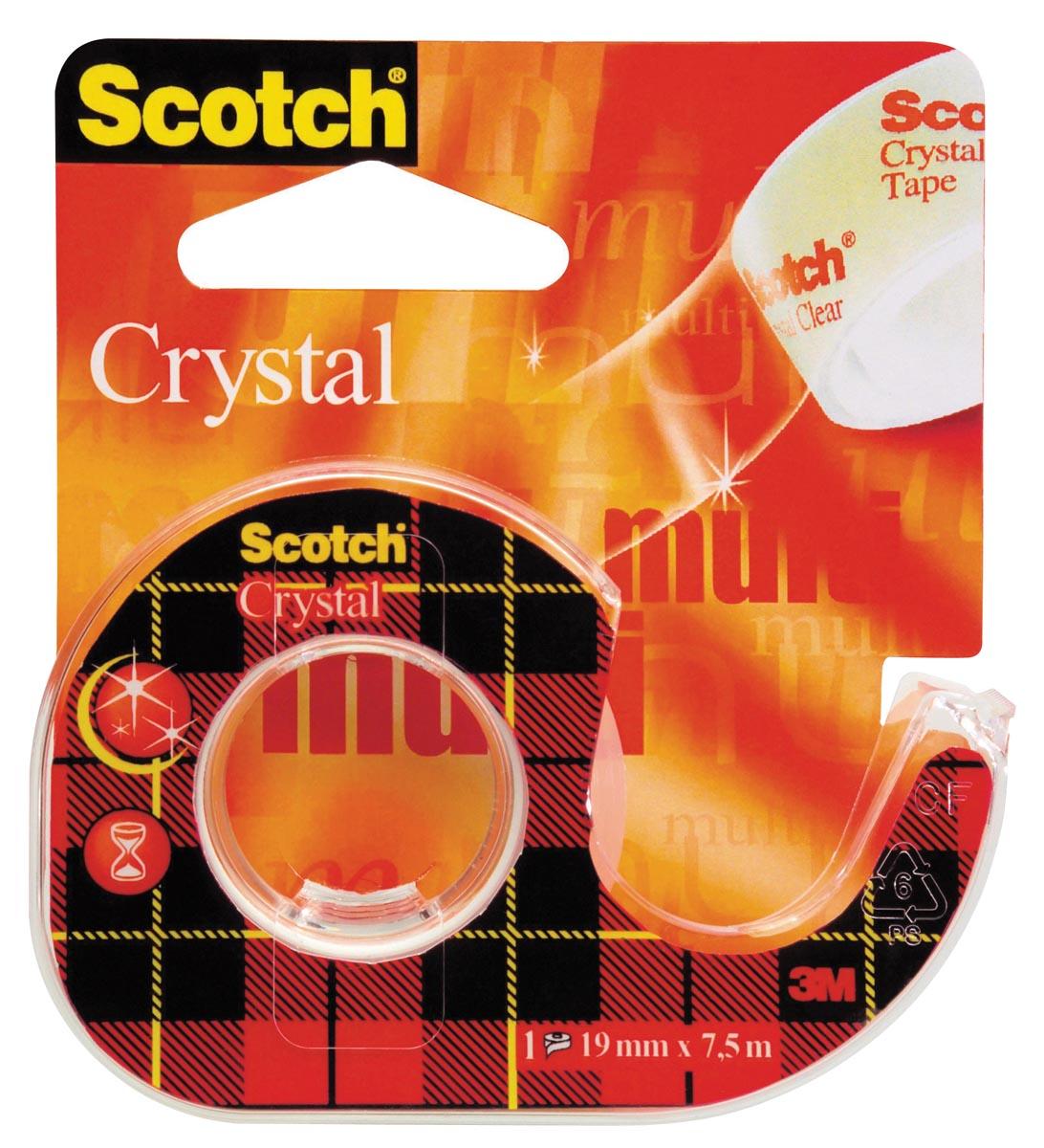 Scotch Plakband Crystal ft 19 mm x 7,5 m, blister met 1 afroller met 1 rolletje