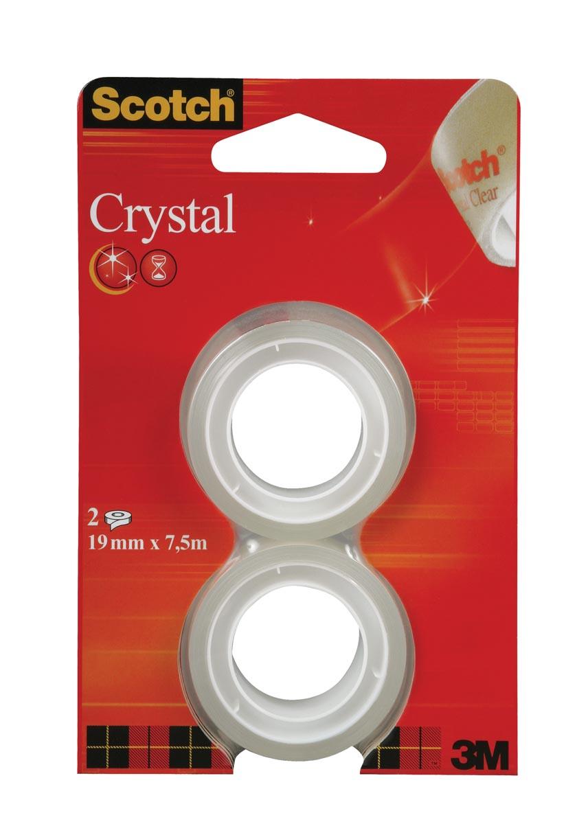 Scotch Plakband Crystal ft 19 mm x 7,5 m, blister met 2 rolletjes