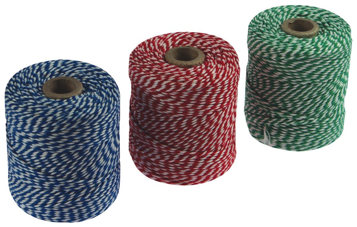 Katoentouw, klos van 100 g, ongeveer 100 meter, geassorteerde kleuren, pak van 5 stuks