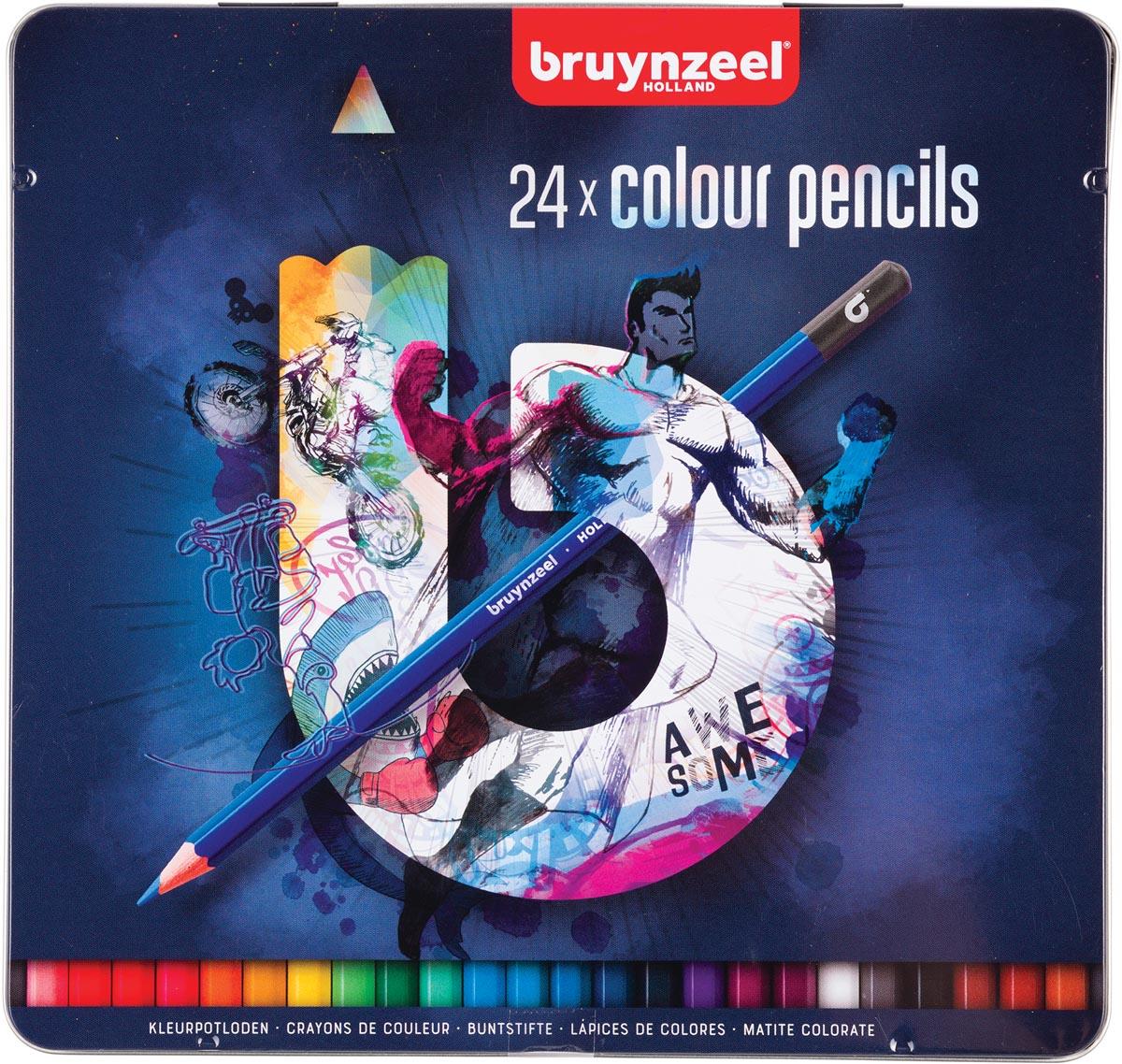 Bruynzeel kleurpotloden Dark, metalen doos van 24 stuks