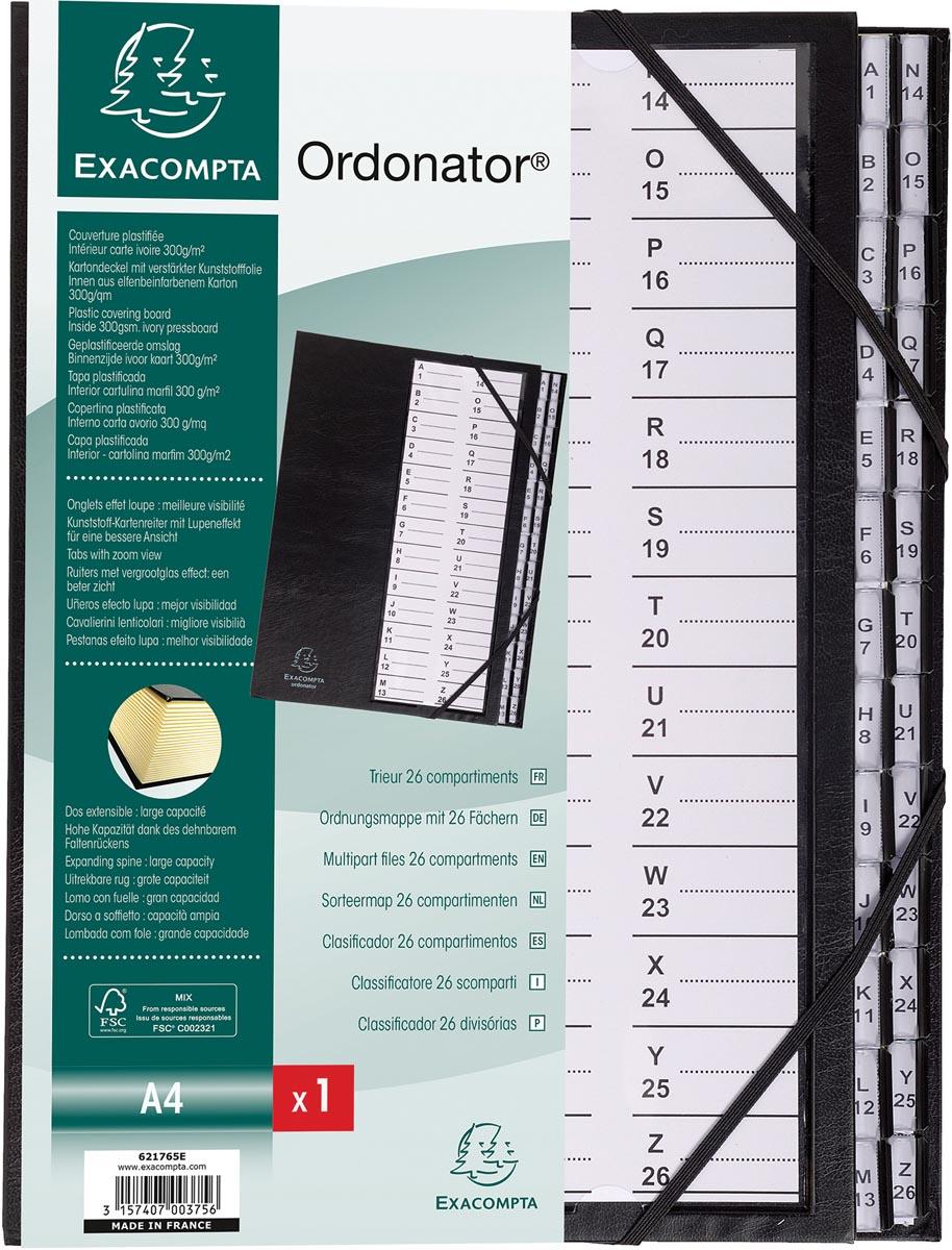 Exacompta sorteermap Ordonator met harde kaft, bedrukte alfabetische ruiters, 26 vakken, zwart