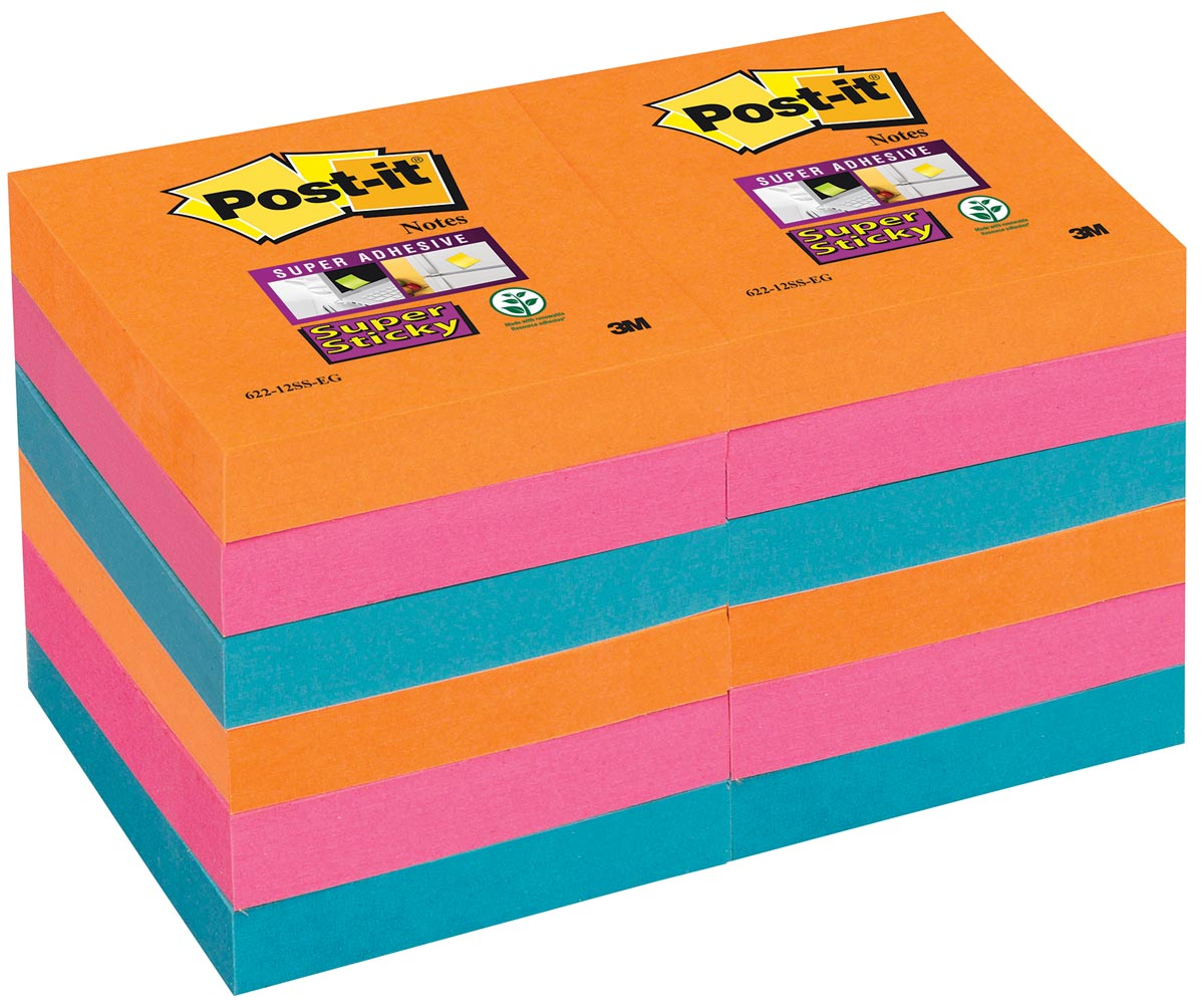 Post-it Super Sticky notes Bangkok, ft 51 x 51 mm, 90 vel, pak van 12 blokken