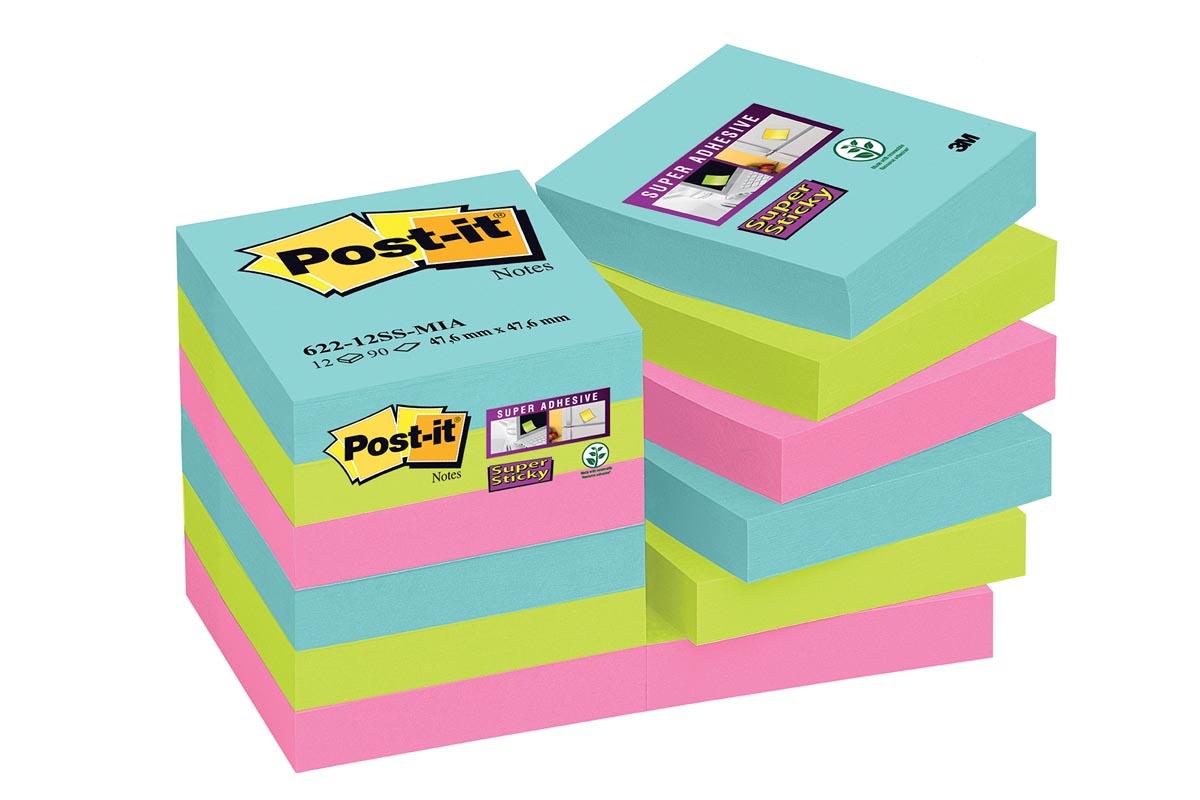 Post-it Super Sticky notes Miami, ft 47,6 x 47,6 mm, 90 vel, pak van 12 blokken