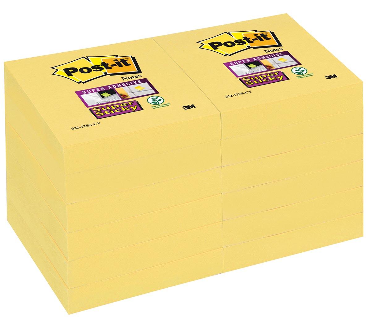 Post-it Super Sticky notes, ft 47,6 x 47,6 mm, geel, 90 vel, pak van 12 blokken
