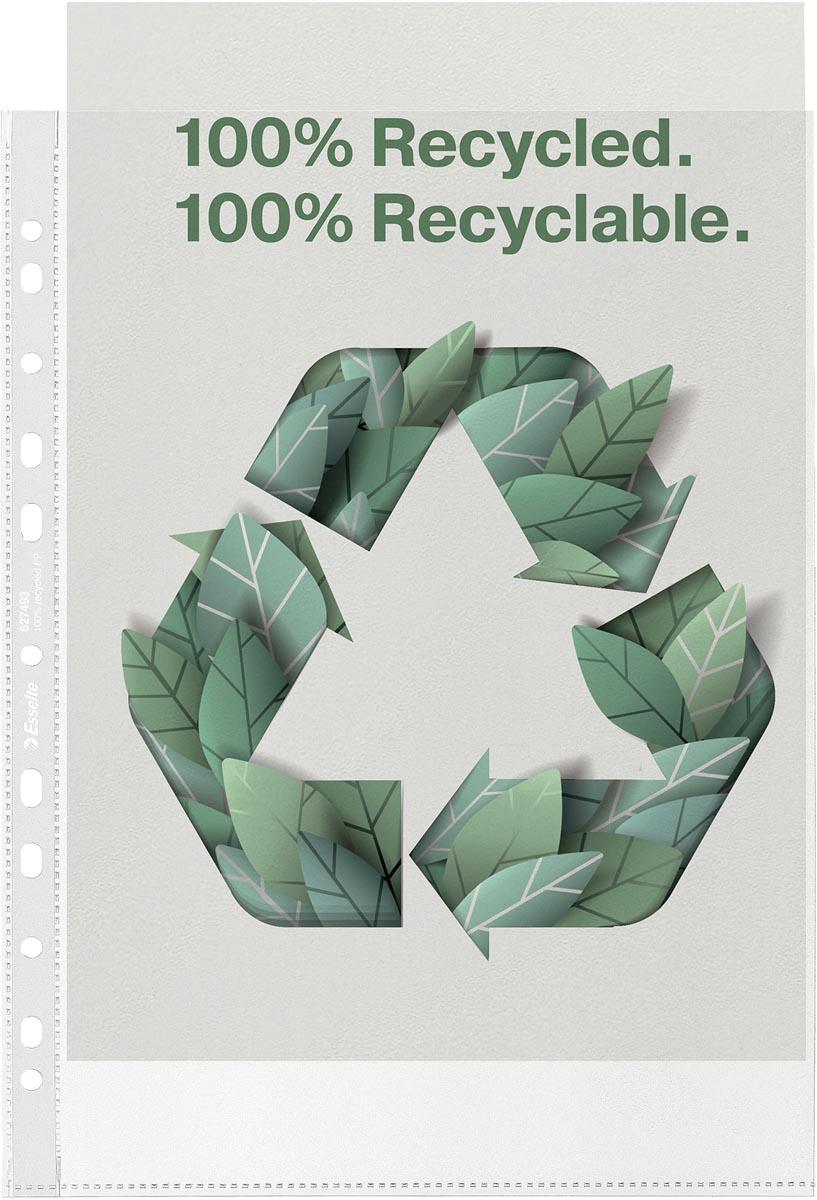 Esselte geperforeerde showtas, 100 % gerecycleerd, ft A4, 70 micron, doos van 100 stuks