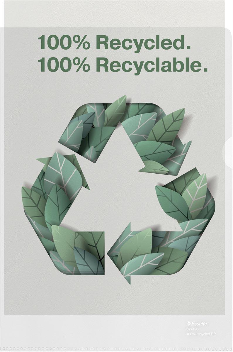 Esselte L-map, 100 % gerecycleerd, transparant, doos van 100 stuks