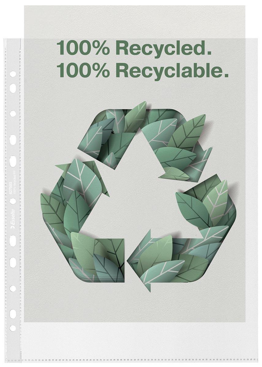 Esselte premium geperforeerde showtas, 100 % gerecycleerd, ft A4 maxi, 100 micron, pak van 100 stuks