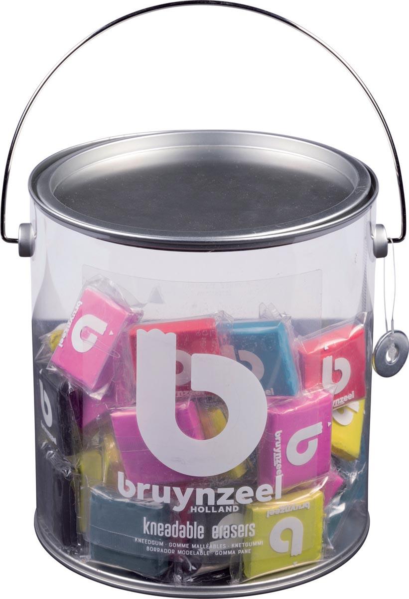 Bruynzeel kneedgum, emmertje met 120 stuks in geassorteerde kleuren