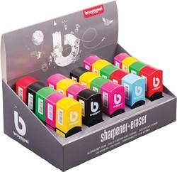 Bruynzeel slijper met gum, display van 25 stuks in geassorteerde kleuren