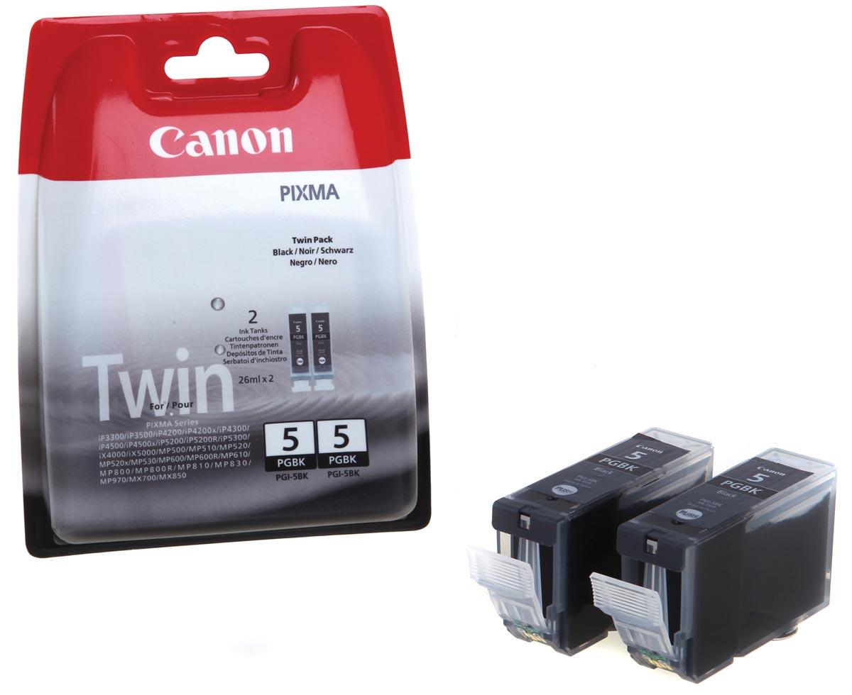 Canon inktcartridge PGI-5BK, 800 pagina's, OEM 0628B030, duopack, zwart