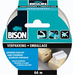 Bison verpakkkingstape, ft 50 mm x 66 m, transparant