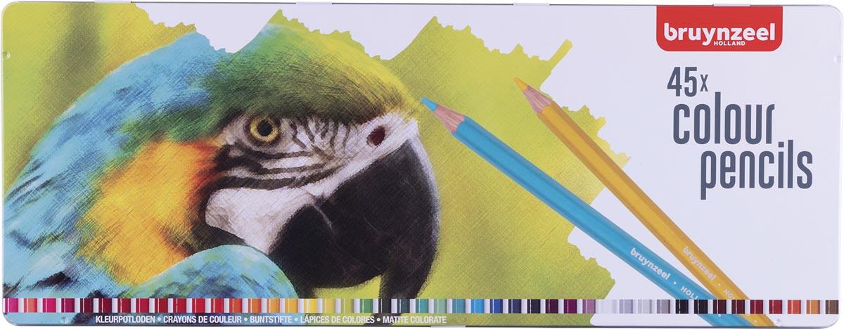 Bruynzeel kleurpotlood Papegaai, metalen doos van 45 potloden