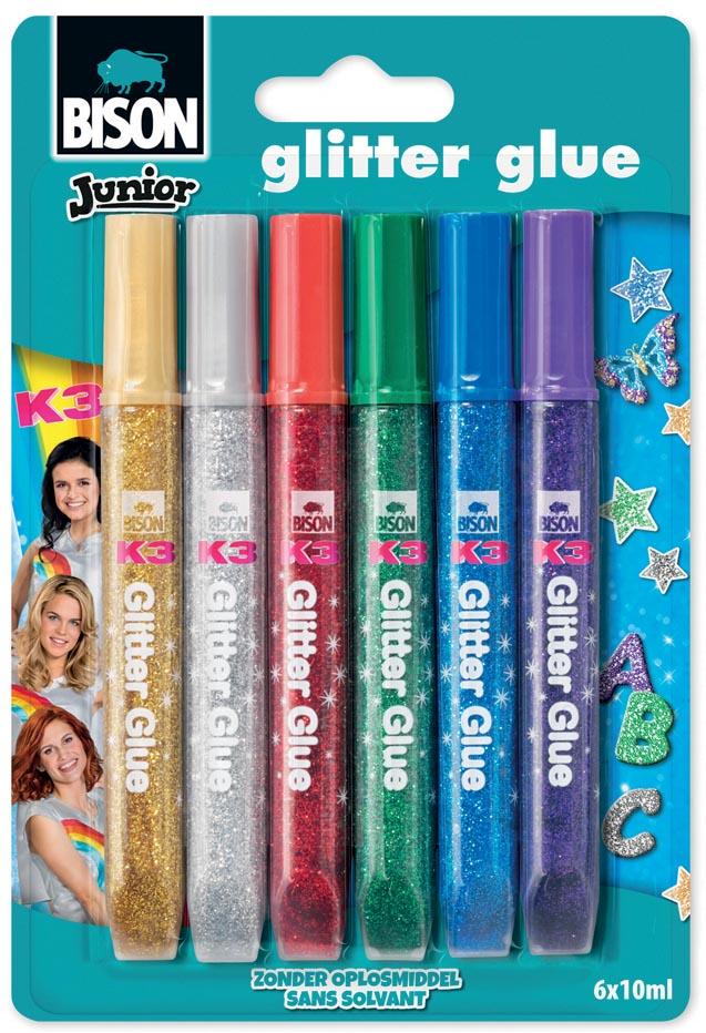 Bison Junior K3 glitterlijm, blister met 6 stuks in geassorteerde kleuren