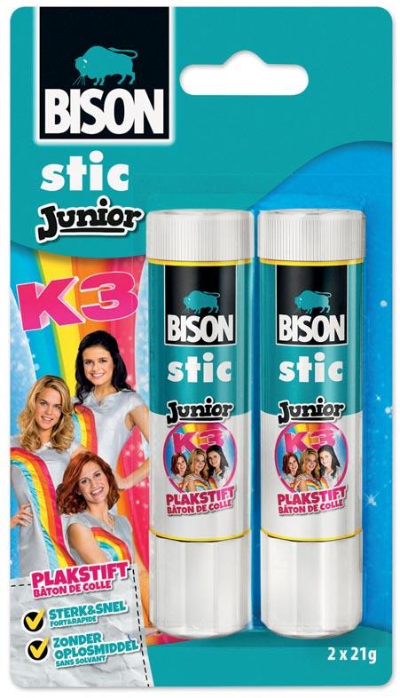 Bison Junior K3 plakstift 21 g, blister met 2 stuks