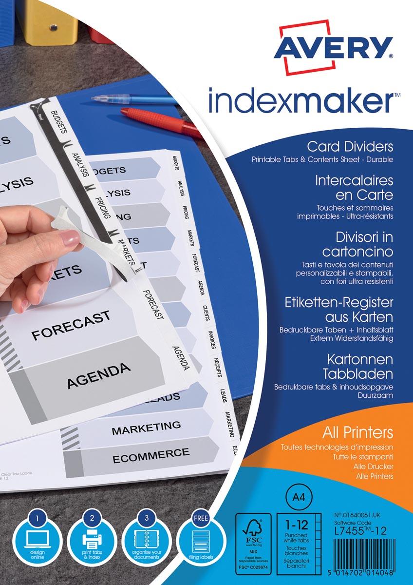 Avery IndexMaker tabbladen uit karton met schut- en indexbladen, ft A4, 12 tabs, wit