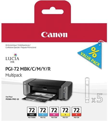 Canon inktcartridge PGI-72, 5 x 14 ml, OEM 6402B009, matzwart, cyaan, magenta, geel en rood