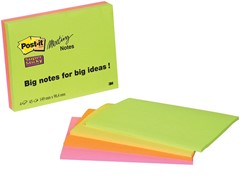 Post-It Super Sticky meeting notes, ft 98,4 x 149 mm, 45 vel, 4 blokken in geassorteerde kleuren