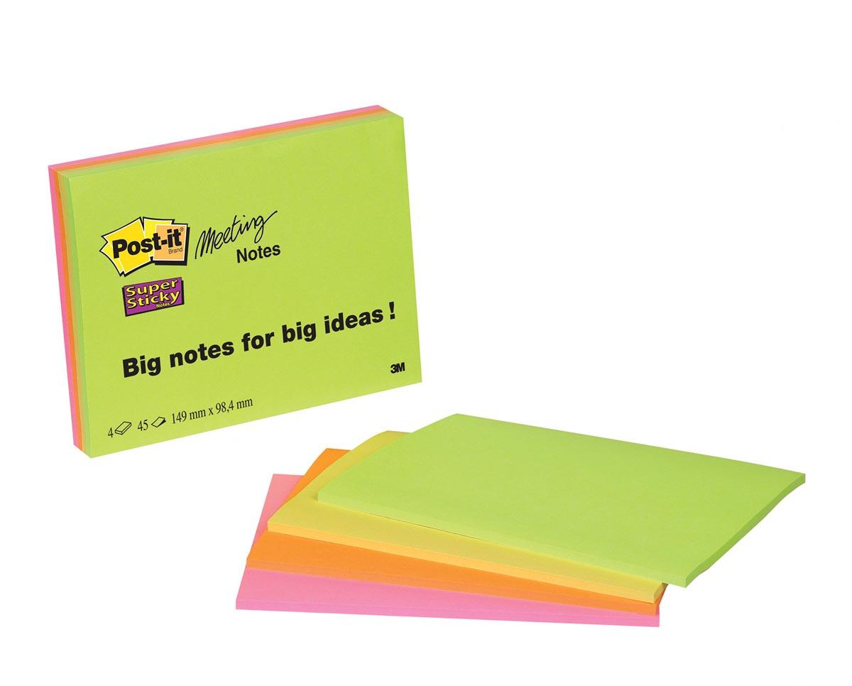 Post-It Super Sticky Meeting Notes, ft 98,4 x 149 mm, geassorteerde kleuren, 45 vel, pak van 4 blokk