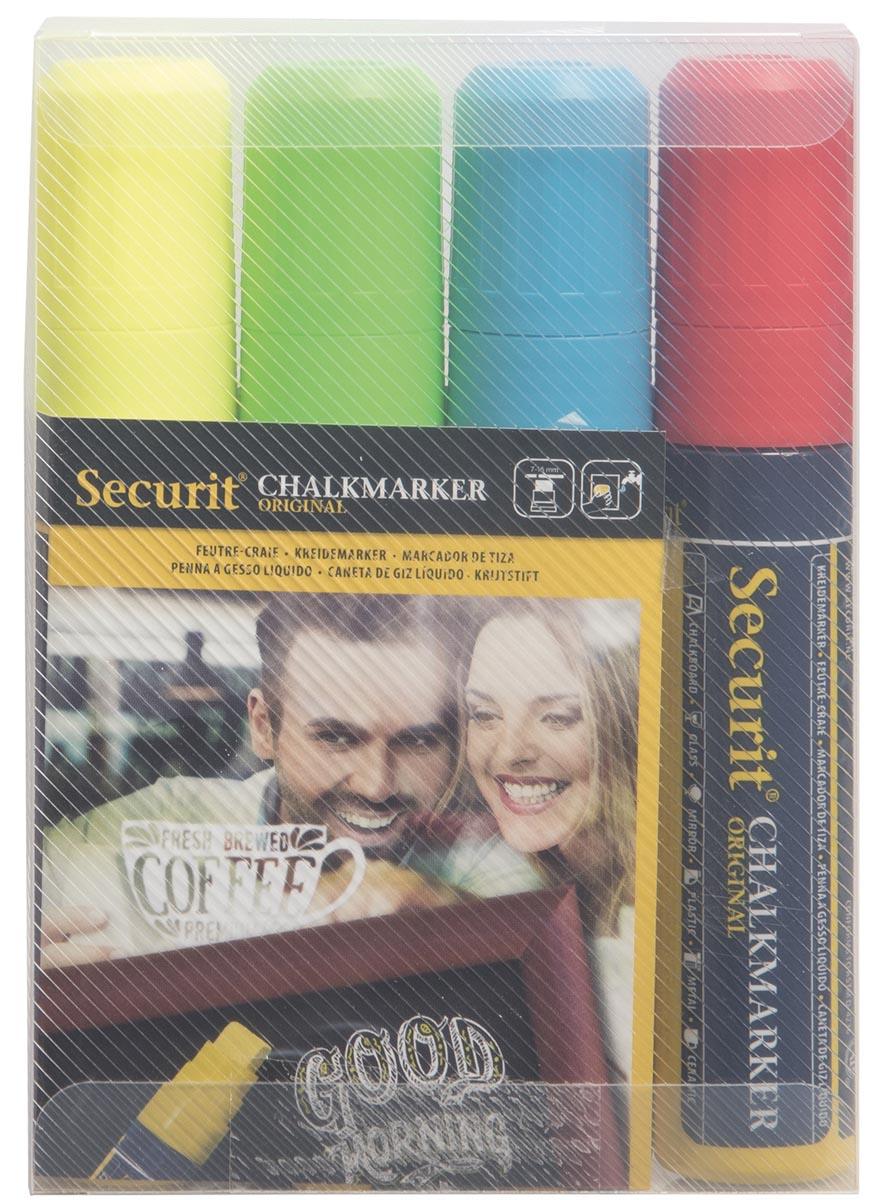 Securit krijtmarker large, blister met 4 stuks in geassorteerde kleuren