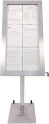 Securit led informatie display Premium ft 6 x A4, roestvrij staal