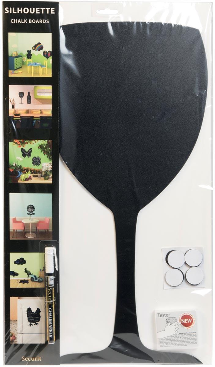 Securit krijtbord wijnglas ft 30 x 50 cm