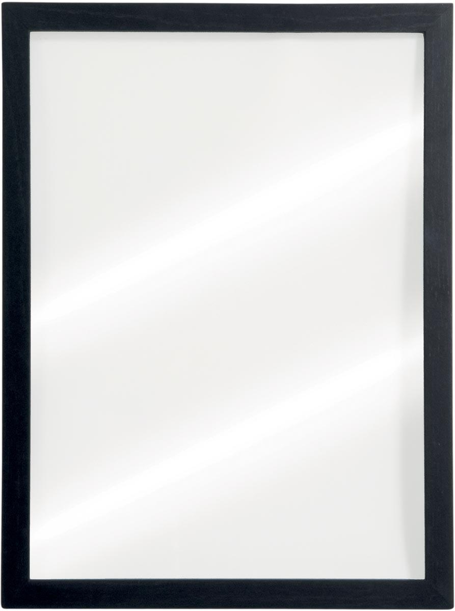 Securit krijtbord Woody, transparant met zwarte randen, ft 40 x 60 cm, hout met zwarte lakafwerking