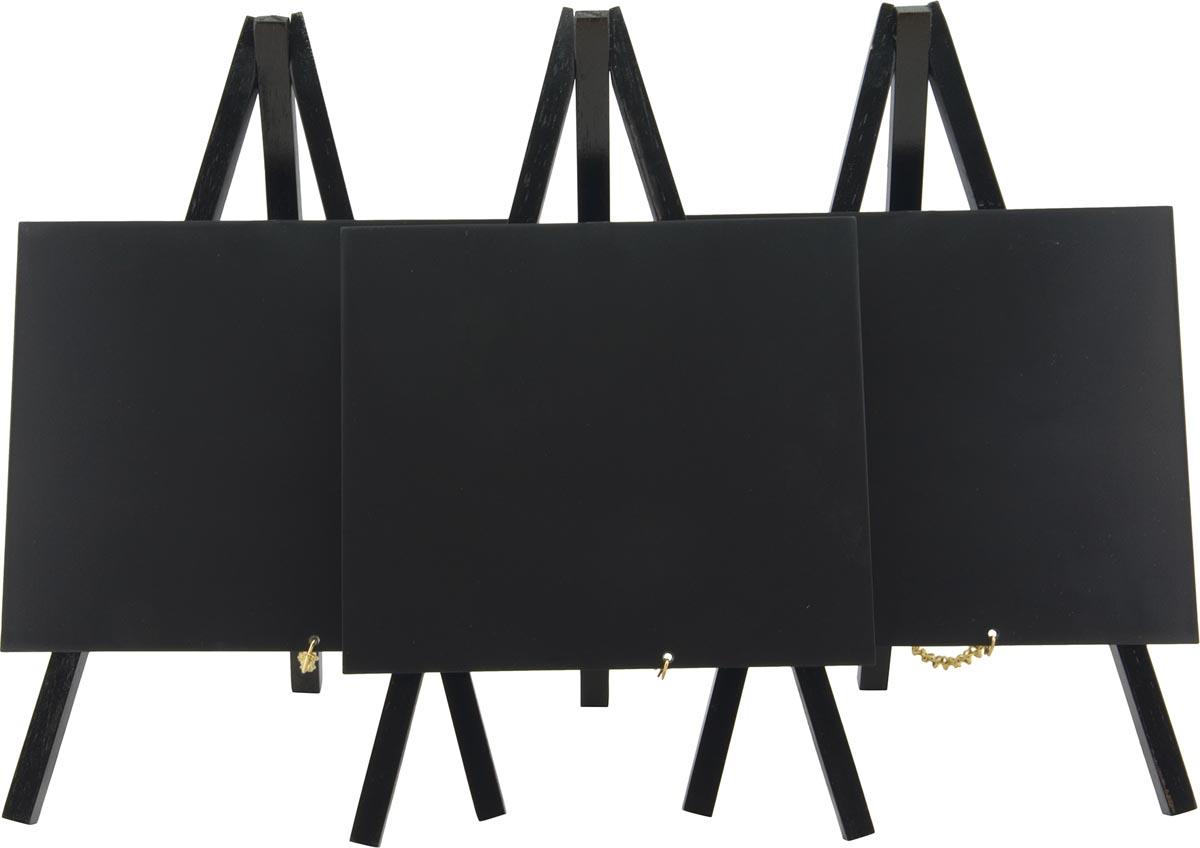 Securit tafelkrijtbord Mini, ft 24 x 15 cm, zwart, pak van 3