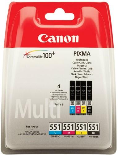 Canon inktcartridge CLI-551, 300-500 pagina's, OEM 6509B008, 4 kleuren