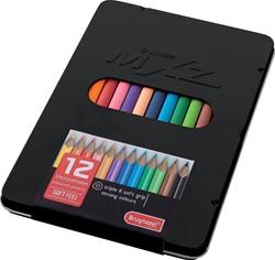 Bruynzeel kleurpotloden MXZ, zwarte doos met 12 potloden in geassorteerde kleuren