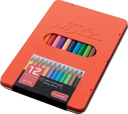 Bruynzeel kleurpotloden MXZ, rode doos met 12 potloden in geassorteerde kleuren