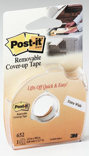 Post-it correctietape 8 mm met afroller, op blister