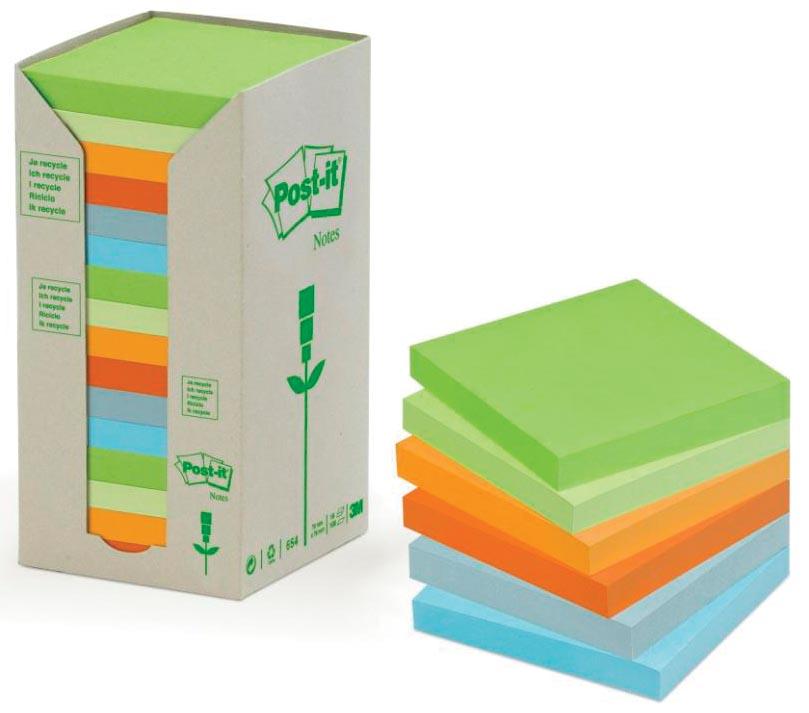 Post-it Notes gerecycleerd, ft 38 x 51 mm, geassorteerde kleuren, 100 vel, toren van 24 blokken
