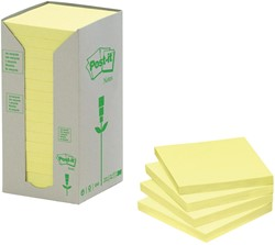 Post-it Notes gerecycleerd, ft 38 x 51 mm, geel, 100 vel, toren van 24 blokken