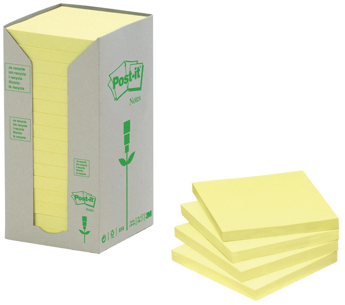 Post-it Notes gerecycleerd, ft 38 x 51 mm, geel, 100 vel, toren van 24 blokken