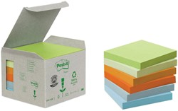 Post-it Notes gerecycleerd, ft 76 x 76 mm, geassorteerde kleuren, 100 vel, pak van 6 blokken