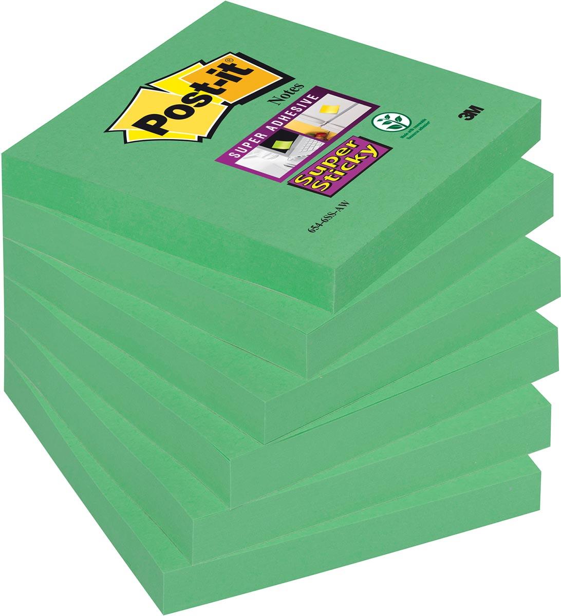 Post-it Super Sticky Notes Neon, ft 76 x 76 mm, wintergroen, pak van 6 blokken
