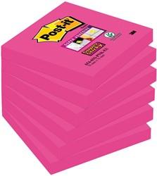 Post-it Super Sticky notes, ft 76 x 76 mm, fuchsia, 90 vel, pak van 6 blokken