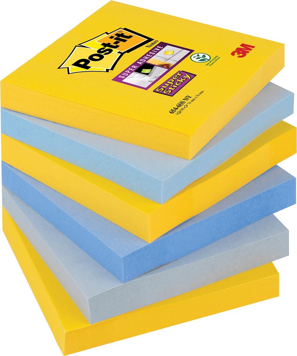 Post-it Super Sticky notes New York, ft 76 x 76 mm, geassorteerde kleuren, 90 vel, pak van 6 blokken