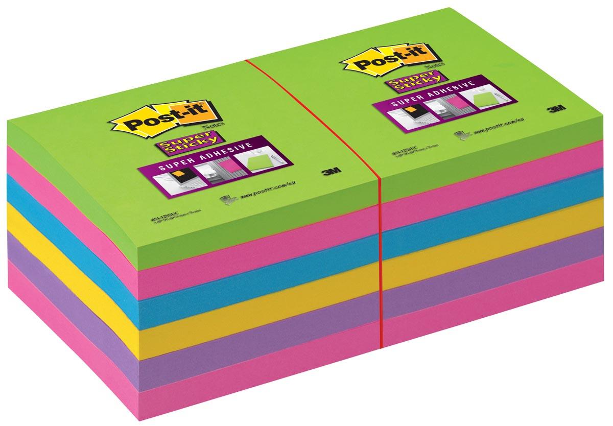 Post-it Super Sticky notes, ft 76 x 76 mm, geassorteerde kleuren, 90 vel, pak van 12 blokken