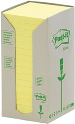 Post-it Notes gerecycleerd, ft 76 x 76 mm, geel, 100 vel, toren van 16 blokken