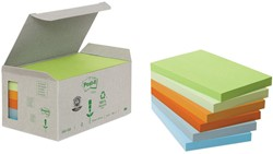 Post-it Notes gerecycleerd, ft 76 x 127 mm, geassorteerde kleuren, 100 vel, pak van 6 blokken
