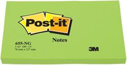 Post-it Notes, ft 76 x 127 mm, neongroen, blok van 100 vel