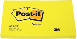 Post-it Notes, ft 76 x 127 mm, neongeel, blok van 100 vel