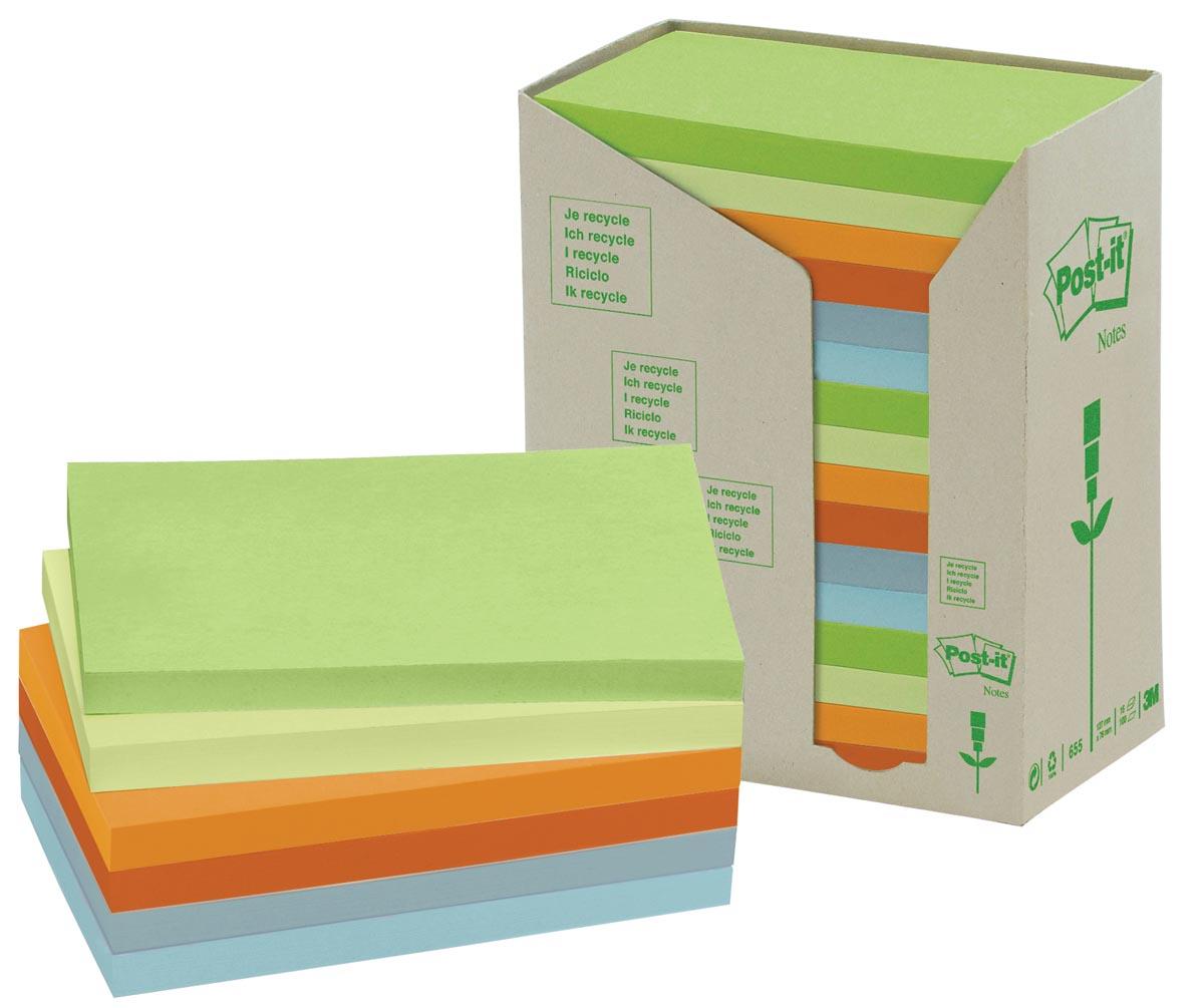 Post-it Notes gerecycleerd, ft 76 x 127 mm, geassorteerde kleuren, 100 vel, toren van 16 blokken