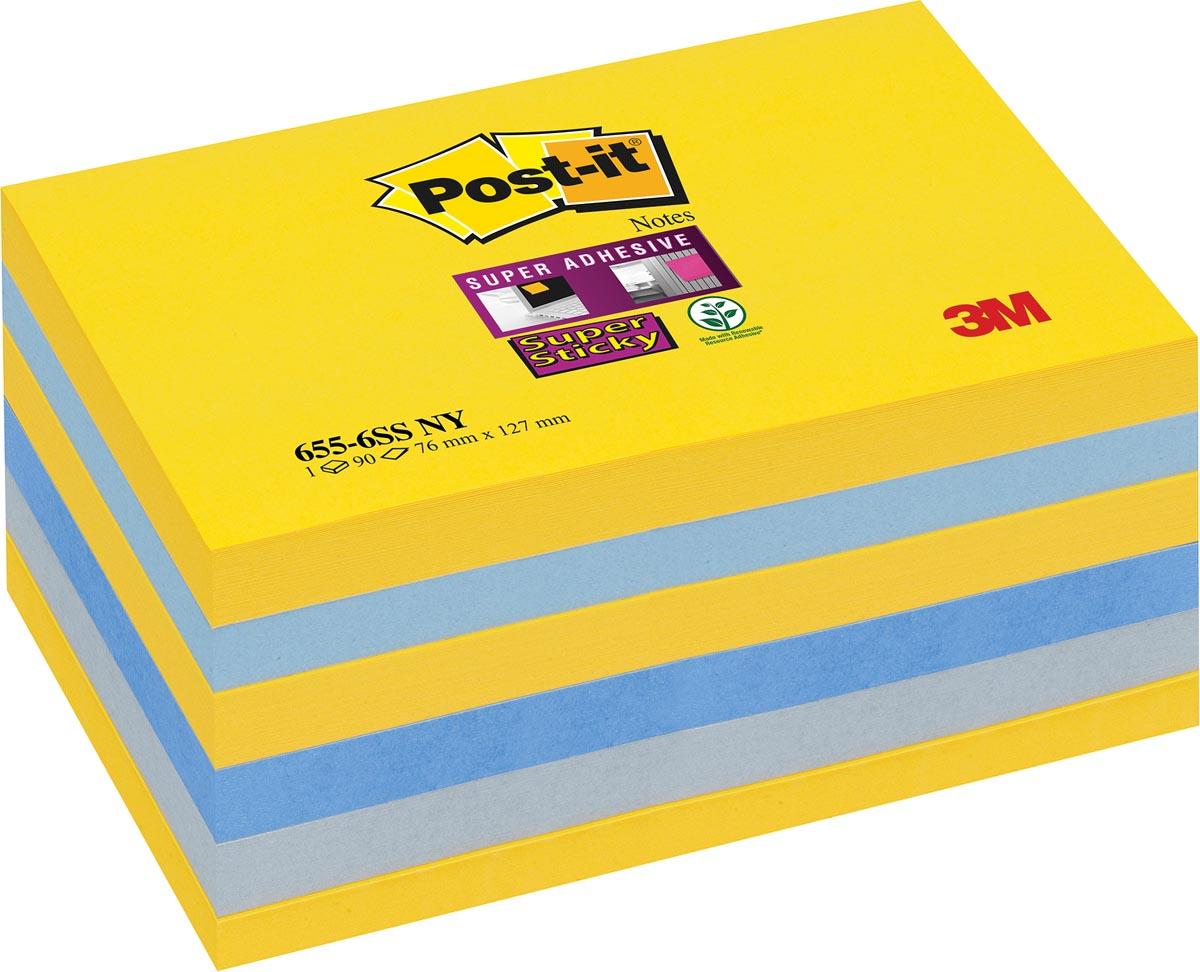 Post-it Super Sticky notes New York, ft 76 x 127 mm, geassorteerde kleuren, 90 vel, pak van 6 blokke