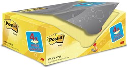 Post-it Notes, ft 76 x 127 mm, geel, 100 vel, pak van 16 + 4 gratis