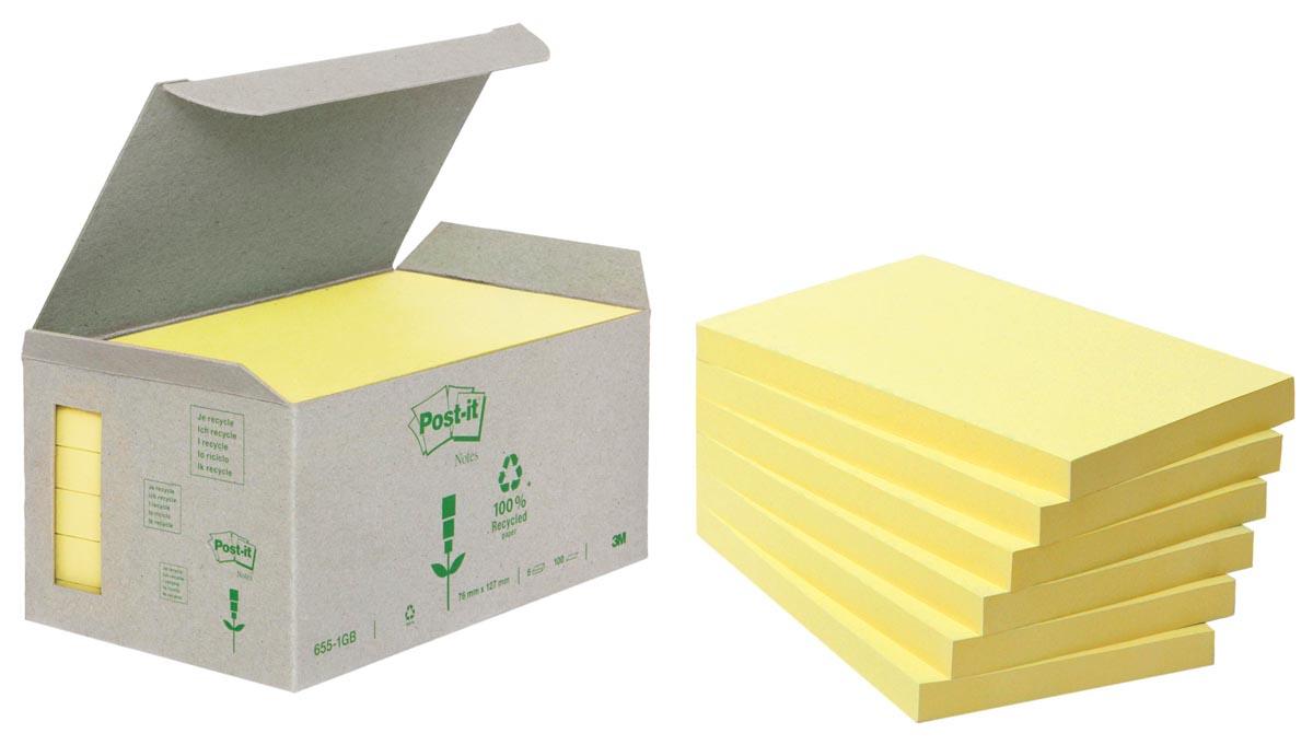 Post-it Notes gerecycleerd, ft 76 x 127 mm, geel, 100 vel, toren van 16 blokken