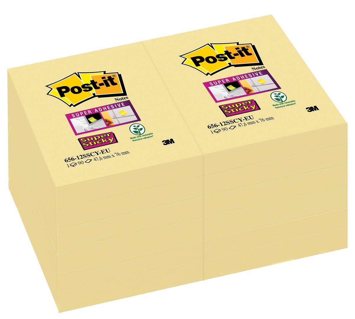 Post-it Super Sticky notes, ft 47,6 x 76 mm, geel, 90 vel, pak van 12 blokken